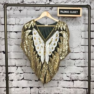 Tops - Vintage sequin butterfly gold silk top size small